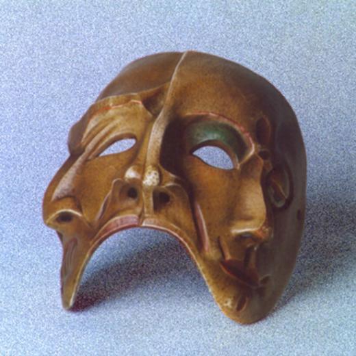 Máscara Três Faces - Meia-máscara Criação Erika Rettl (téc. couro) Acervo do Grupo Moitará
